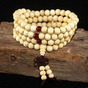 Floral White Meditation Bracelet